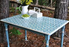 Sophia's: Sweet and Simple Little Farm Table  (stencil from Ed Roth's Stenciling 101)