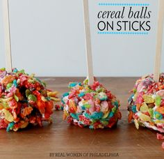 Rainbow birthday?! Like Rice Krispie treats but with the addition of cream cheese to the mix. Fruity cereal treat balls.
