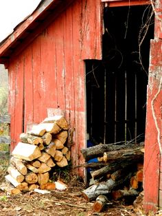 definately have to have a wood stove, for the cold winter nights....so, a wood pile will be a must!!!! :)