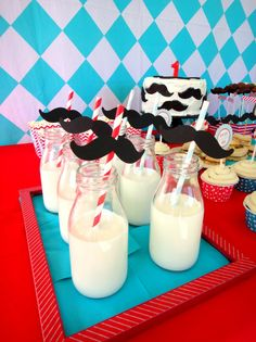 Every little man loves his milk and cookies? #littleman #party