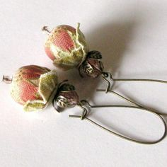 Fabric Flower Earrings Beaded Jewelry BLOSSOMS peach by kangas, $24.00