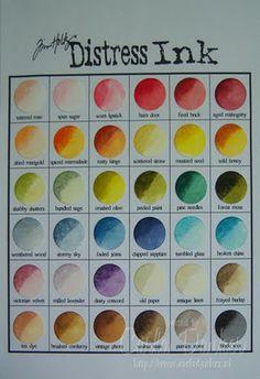 Cute & vintage: Distress Ink kleurenkaart maken