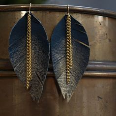 Elemental Carbon: Leather & Gold Feather Earrings // DIY