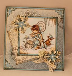 """StampARTic's DT have been sponsored with gorgeous digi stamps from Lili Of The Valley . """"Laila Ansbergs started Lili of. Digi Stamps, Lily Of The Valley, Cute Cards, Scrapbook, Handmade Christmas, I Card, Cardmaking, Color Schemes, Vintage World Maps"""