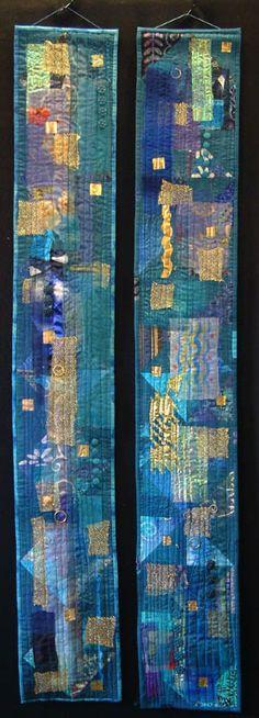 Blue Moods - Helen Howes. aqua turquoise teal art quilt textile fiber fabric