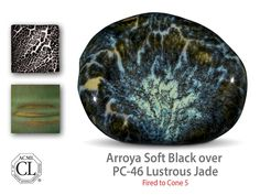 Amaco Arroya Soft Black over Lustrous Jade glaze.  Looks like an alien galaxy.