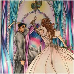 Feyre and Rhysand - A court of mist and fury - acotar coloring book - coloured by Sendaria