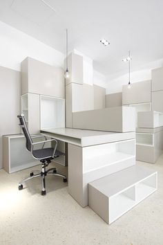 Office & Workspace:Hypernuit Offices Space White Room Ceiling Basic Pendant Light Partition Floor Wood Cabinet Modern Dark Desk Chair Manufa...