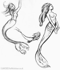 Realistic Merm... Realistic Mermaid Drawing ...