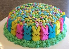 Peeps Cake Easter  So Colorful! I wouldn t use quite that many M M s  though. I think they d just pour off the top when you try to slice the cake. 1c76619ff3ef