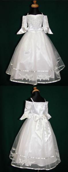 fc3caea25b7a Cold Shoulder White Tea Length Tulle Appliqued First Communion Dress with  Half Length Sleeves FC0006