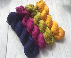 Mulberry silk 100%handdyed yarn hand painted. Brightest set.
