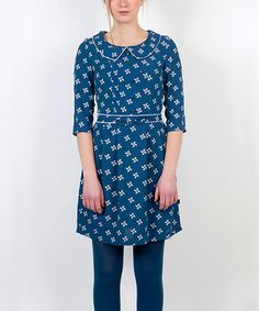 Take a look at this Blue Pinwheel Button Dress by Titis Clothing on #zulily today!