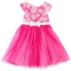 Jona Michelle Baby Girls/' Hot Pink Cap Sleeve Rosette Satin Party Dress