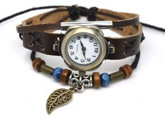 Leather Bracelet Watch, brown, leaf charm, beaded, adjustable | egrobeck - Jewelry on ArtFire