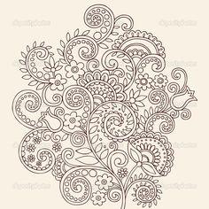 Henna Mehndi Paisley Flowers and Vines Doodle Vector — Imagens vectoriais em stock #8248640