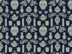 Brunschwig & Fils WARWICK TAPESTRY BLUE GROUND WITH BLUE AND WHITE TEAPOTS BR-89131.02 - Brunschwig & Fils - Bethpage, NY