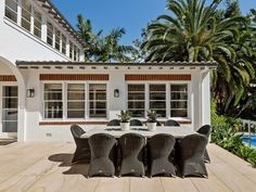 Stritt Design & Construction | Pittwater Residence Colonial Style Homes, Spanish Colonial, Southern California Style, Sunset West, Alfresco Area, House Paint Exterior, Lush Garden, Outdoor Living, Outdoor Decor