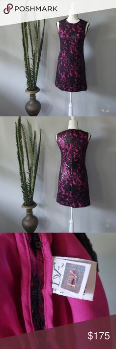 Diane Von Furstenberg sequined dress You'll look fabulous darling in this sequined mini!  A gorgeous shade of magenta is covered in thin black lace and a black sequin floral pattern.   Offers are welcome.  Please refer to the chart for offer guidelines. Diane Von Furstenberg Dresses Mini