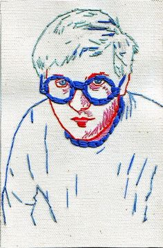 Hand embroidered portrait of David Hockney