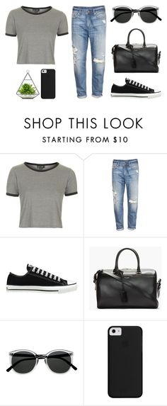 """""""Sin título #529"""" by maitelarrea ❤ liked on Polyvore featuring Topshop, H&M, Converse, Yves Saint Laurent and Retrò"""