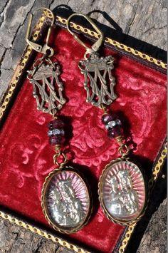SAINT ANNE de BEAUPRE - assemblage earrings by Hallowed Adornments