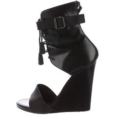 Pre-owned Proenza Schouler Leather Wedge Sandals ($195) ❤ liked on Polyvore featuring shoes, sandals, black, leather wedge sandals, black leather sandals, lace up wedge sandals, lace up sandals and black wedge shoes