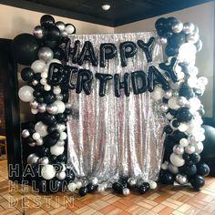 Black and bling balloon photo backdrop by Happy Helium Destin. 16th Birthday Decorations, Balloon Decorations Party, 30th Birthday Parties, Balloon Backdrop, Balloon Ideas, Diy Halloween Luminaries, Bling Party, Balloon Installation, Happy Birthday Balloons