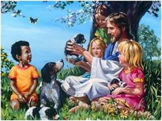 Jesus loves the little children and animals Jesus Is Risen, Jesus Loves Me, He Is Lord, God Is Amazing, Tribe Of Judah, Prayers For Children, Jesus Christ Images, Jesus Pictures, Christian Art