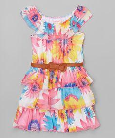 Look what I found on #zulily! Pink & Yellow Chiffon Belted Yoke Dress - Toddler & Girls #zulilyfinds