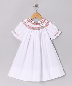 Take a look at this Rosalina White & Red Rosebud Bishop Dress - Infant, Toddler & Girls on zulily today!