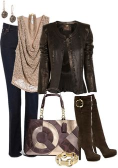 """""""Leather, Jeans, and Coach 2"""" by averbeek on Polyvore"""