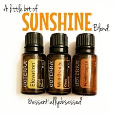 """Have the winter blues or just love the warm feeling of the sun on you face like this mama!?  Then, this Sunshine Blend is going to be a new favorite! In a 10ml rollerball combine: 15 drops Elevation, 15 drops Wild Orange and 10 drops Frankincense. Top with fractionated coconut oil and roll on bottoms of feet, across your wrists and down your neck OR put 2 drops Elevation, 2 drops Wild Orange and 1 drop Frankincense in your diffuser and enjoy!"