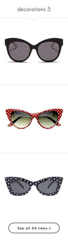 """decorations 5"" by noextrate ❤ liked on Polyvore featuring accessories, eyewear, sunglasses, glasses, acessorios, black, dot glasses, cat eye glasses, cat eye sunglasses and polka dot sunglasses"