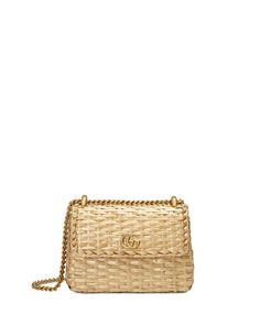 1c13bb71d2e Gucci Linea Cestino Mini Natural Straw Shoulder Bag