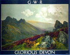 """When Adam and Eve were dispossessed / Of the garden hard by Heaven / They planted another one down in the West / Twas Devon, glorious Devon. Posters Uk, Train Posters, Railway Posters, Poster Prints, Travel English, British Travel, Poster City, City Painting, Travel Cards"
