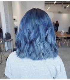 💙 My dream blue hair - dyed hair - Cheveux Hair Dye Colors, Cool Hair Color, Blue Hair Colour, Nice Hair Colors, Short Hair Colour, Faded Hair Color, Aesthetic Hair, Coloured Hair, Colored Short Hair
