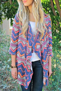 Casual 3/4 Sleeve Colorful Zigzag Printed Asymmetric Cardigan For Women