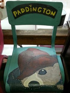 One off childrens furniture makes wonderful presents.  Handpainted Paddington Bear Vintage School Chair using Vintro Chalk Paint.  www.vintro.co.uk