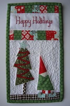 Fun gnome and Christmas tree mug rug