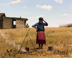 Waiting for water to boil, another wonderful painting by Allen Sapp, who with is art work, depicts his early life in Saskatchewan. American Indian Art, American Traditional, American Food, Contemporary Art Forms, Order Of Canada, Native American Artists, Canadian Art, Indigenous Art, Western Art