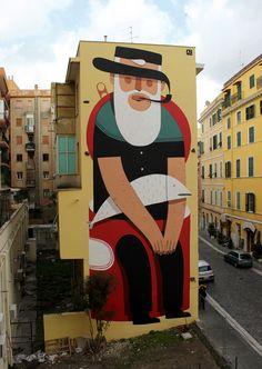 Murais do artista de rua italiano Agostino Iacurci - Via Não me Mande Flores