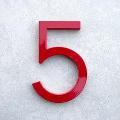 Modern House Number Aluminum Modern Font Number Five 5 in Red (105 ILS) via Polyvore featuring home, outdoors, outdoor decor, grey, home & living, home décor and modern garden decor