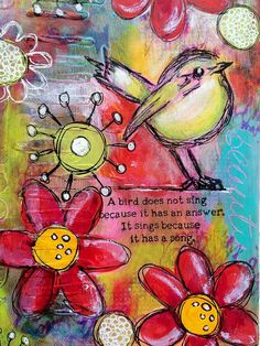 Tracy Scott for Simon Save with a mixed media journal page using Dina Wakley scribbly birds; Mixed Media Journal, Mixed Media Collage, Mixed Media Canvas, Collage Art, Collages, Art Journaling, Art Journal Pages, Kunstjournal Inspiration, Art Journal Inspiration