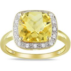 Miadora 10k Yellow Gold Citrine and 1/10ct TDW Diamond Ring (€185) ❤ liked on Polyvore featuring jewelry, rings, copper, gold diamond rings, pave band ring, diamond rings, citrine ring and band rings