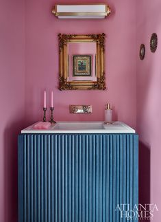 A pink-hued powder room assumes a romantic posture, which was inspired by a vintage oil painting and a pair of vintage candlesticks. Boxwood Garden, California Cool, Circa Lighting, Atlanta Homes, Bedside Table Lamps, Garden Gifts, Candlesticks, Family Room, Bathrooms