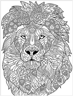 Lion Coloring Pages, Coloring Pages For Grown Ups, Printable Adult Coloring Pages, Coloring Books, Chef D Oeuvre, Oeuvre D'art, Lion Head Drawing, Doodle Art Designs, Blackwork Embroidery