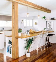 Best Farmhouse Style Kitchen Islands Design Ideas – Decorating Ideas - Home Decor Ideas and Tips Kitchen Sets, Home Decor Kitchen, Home Kitchens, Modern Kitchens, Kitchen Pantry, Half Wall Kitchen, Small Open Kitchens, Kitchen Bar Counter, Galley Kitchen Remodel
