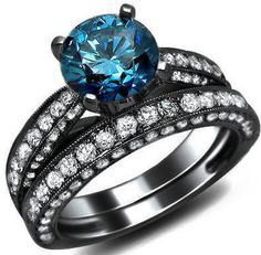 2.93ct Blue Round Diamond Engagement Ring Vintage Style 18k Black Gold / Front Jewelers $4,550