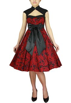 Mystic Crypt Plus Size Red and Black Printed Archaize Pinup Dress [60944] - Plus Size Red and Black Printed Archaize Pinup Dress. This dress is designed to be a pinup Archaize style, cutout between the neck and the bust, with a little hook in the neckline, and a bow-knot in the front, with a side zip. The petticoat is not included. Plus size